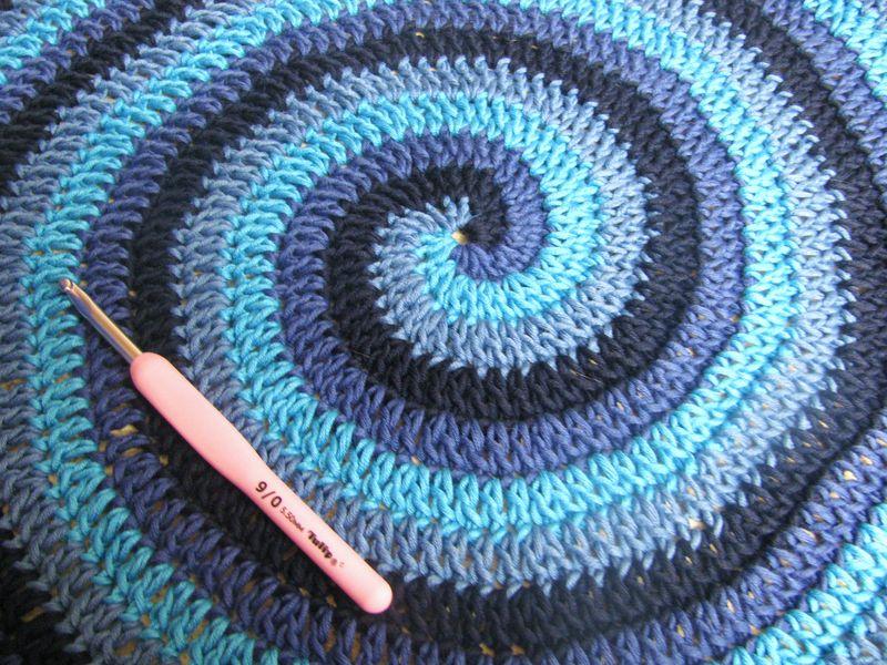 Blue Crochet Spiral