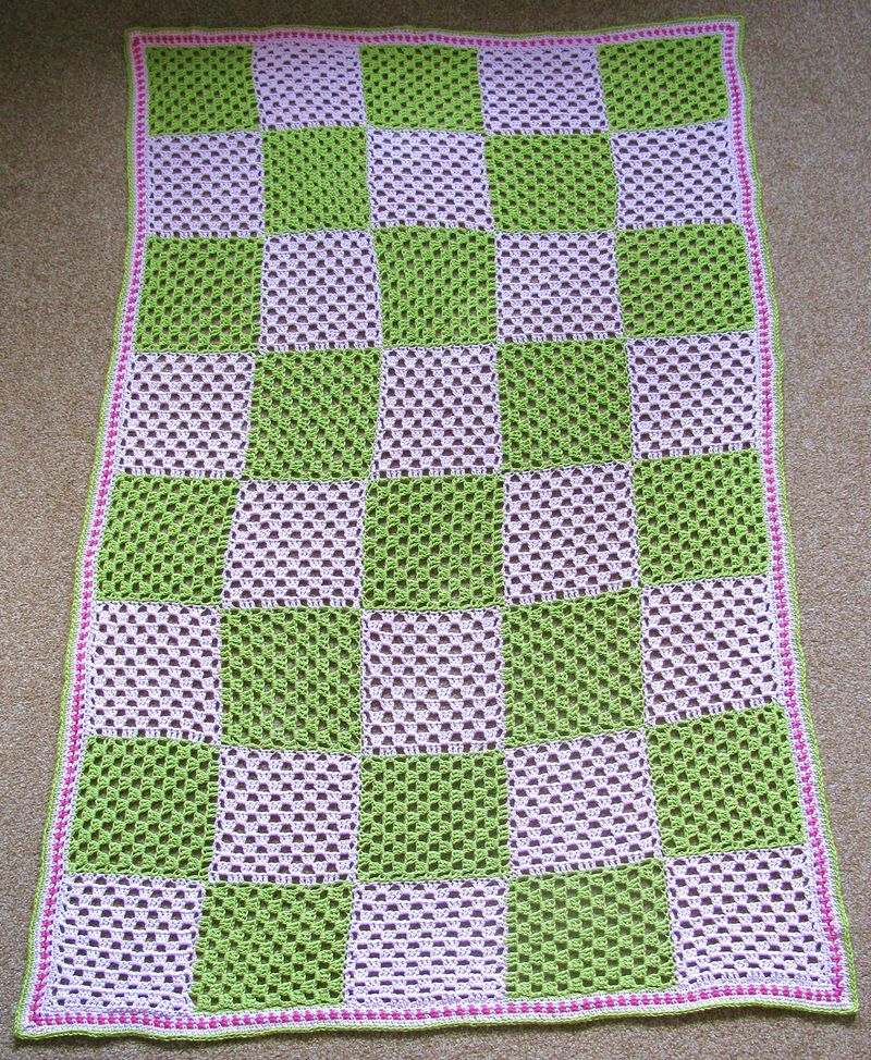 Linked Patchwork Granny Stripes Blanket