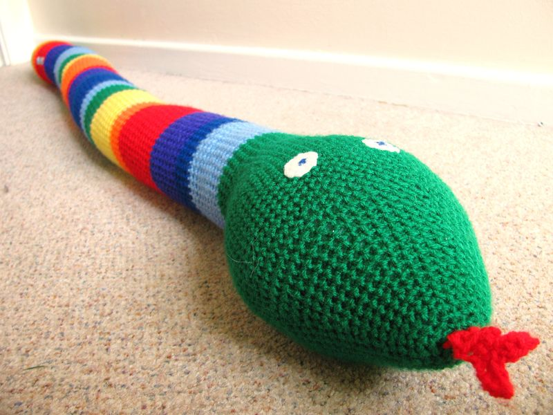 Crocheted Rainbow Snake