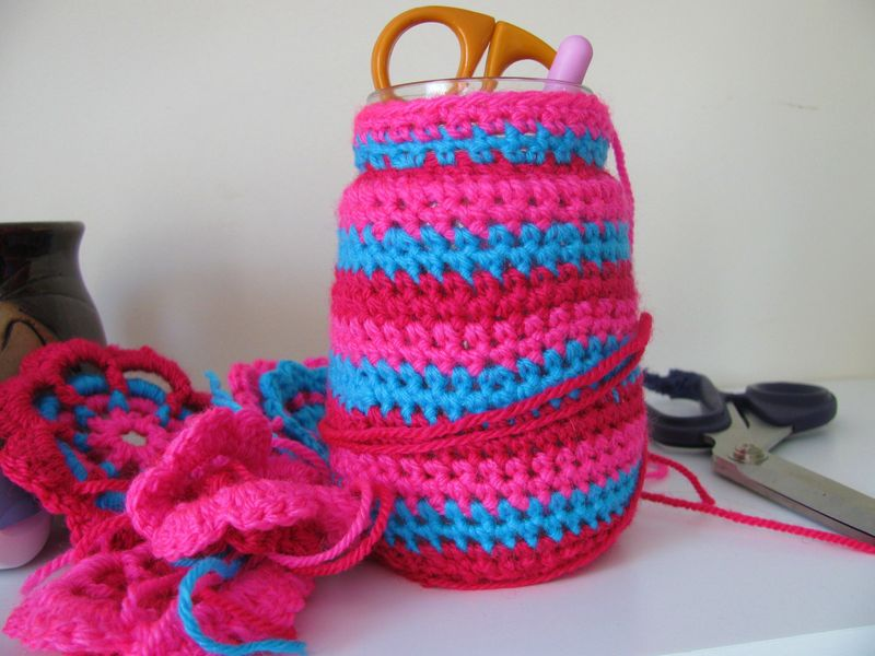 Crocheted jam jar